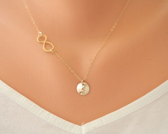 Gold Infinity necklace,initial necklace,Sideways infinity,custom monogram necklace,Friendship gift,Personalized everyday jewelry,horizontal