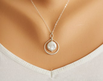Sterling Silver Infinity necklace,coin pearl necklace,karma circle necklace,Best friend gift,Bridesmaid Gift,Sisterhood,Graduation gift