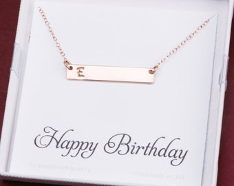 initial bar necklace with birthday card,Skinny Initial Name Plate Contemporary Bridesmaid's jewelry, Initial Rectangle necklace