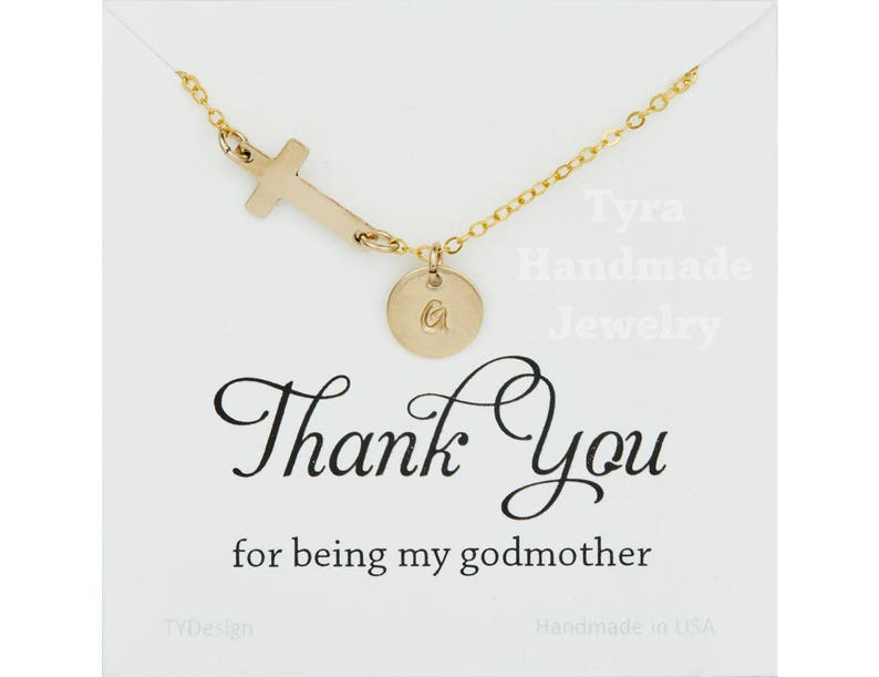 Godmother gift,Sideways cross necklace,initial necklace,custom font,hand stamped initial,font choice,horizontal cross,custom note card