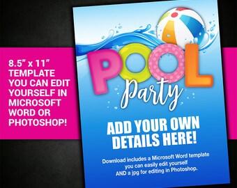 pool party invite etsy
