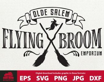 Broom Cricut Witch Graphic Digital Download Halloween Flying Witch Sign svg Vintage Halloween Decor svg Salem Flying School Sign SVG