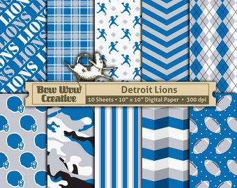 10 Detroit Lions Pattern Digital Papers For Scrapbooking Invitations Cards Graphic Design Paper Crafts Instant Download Background