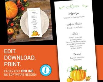 editable thanksgiving menu menu printable menu fall menu etsy