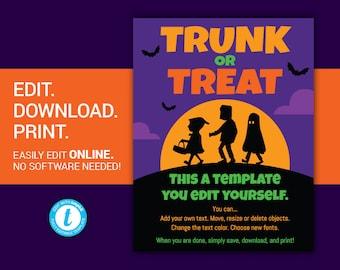 editable trunk or treat flyer trunk or treat halloween flyer etsy