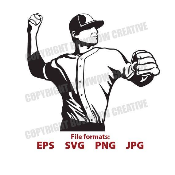 Jahrgang Baseball Spieler Krug Clipart Retro Schwarz Und Weiss Illustration Digitale Vektor Clipart Svg Png Schneiden Datei Vinyl