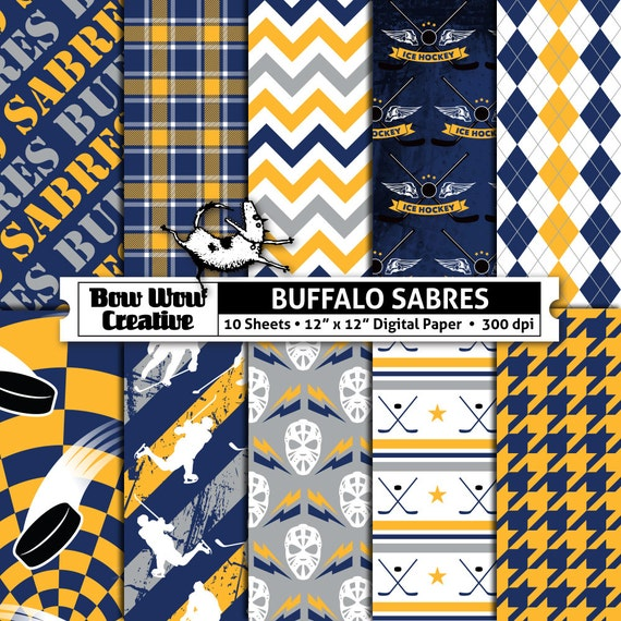10 Buffalo Sabres Digital Papers For Scrapbooking Hockey Etsy