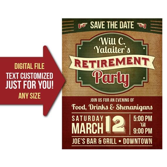 retirement party event retro vintage retire party flyer etsy
