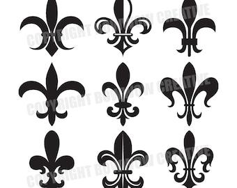 9 Fleur de Lis Emblems, Digital, Vector Clipart, instant download, clipart, illustrations, artwork, New Orleans Saints, New Orleans