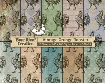Chicken, Rooster, Chicken Pattern, Rooster Pattern, Digital Scrapbook Paper, Digital Paper, Scrapbook Paper, Scrapbooking,