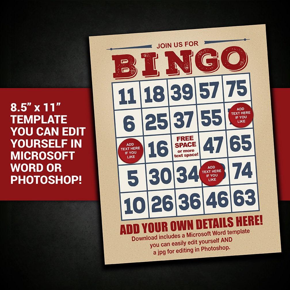 Editable Bingo Flyer Bingo Poster Bingo Flyer Template Bingo Etsy