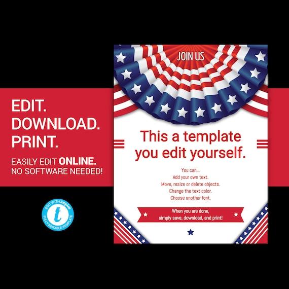 editable patriotic flyer patriotic poster patriotic template etsy