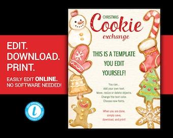 EDITABLE Christmas Cookie Exchange flyer cookie exchange flyer poster christmas cookie exchange template flyer christmas cookie templett