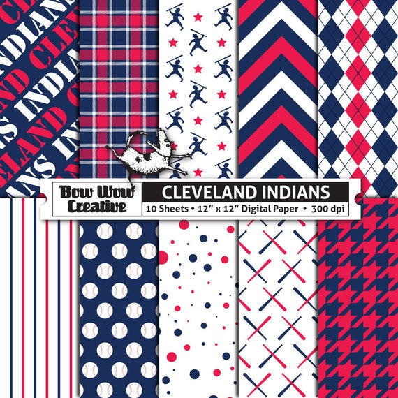 10 Cleveland Indians Digital Papers For Scrapbooking Digital Etsy