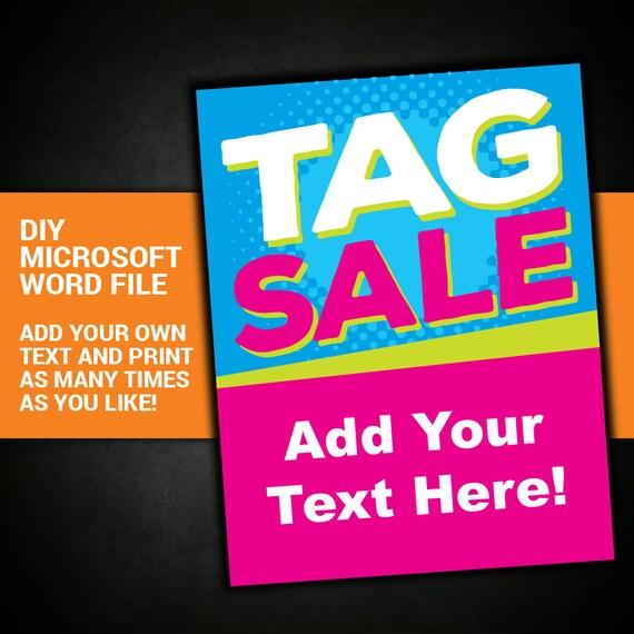 Tag Sale Yard Garage Sign Community