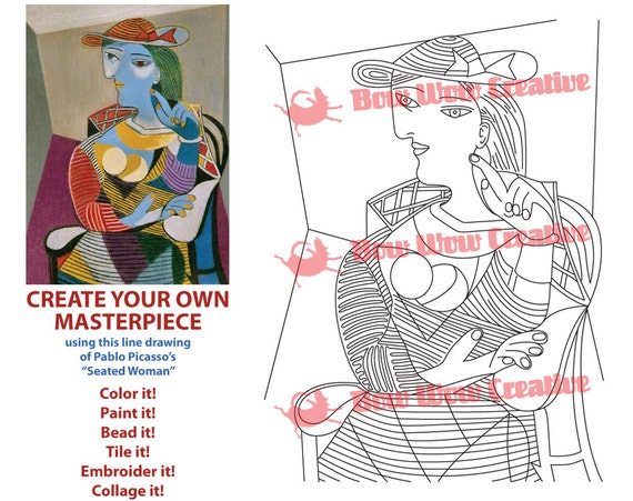 picasso coloring page coloring sheet printable coloring etsy