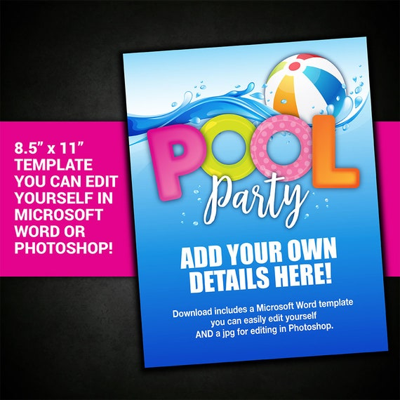 EDITABLE POOL PARTY Invitation Template Pool Party Flyer Invite Printable Poster Birthday Summer
