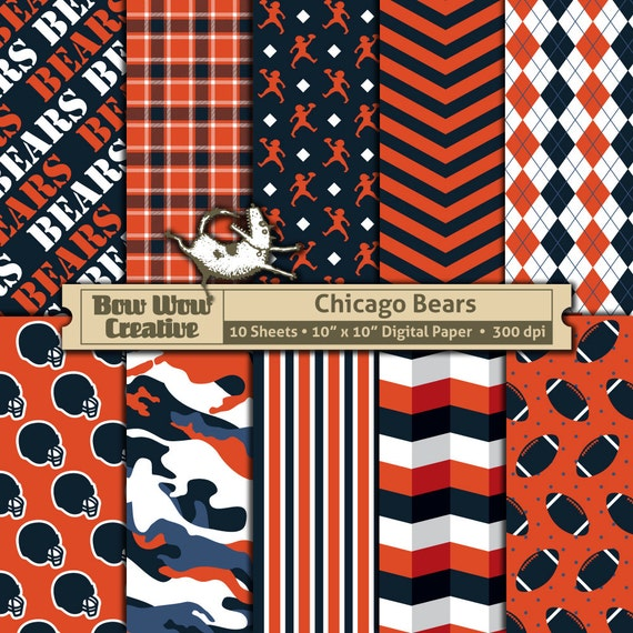 10 Chicago Bears Pattern Digital Papers For Scrapbooking Etsy