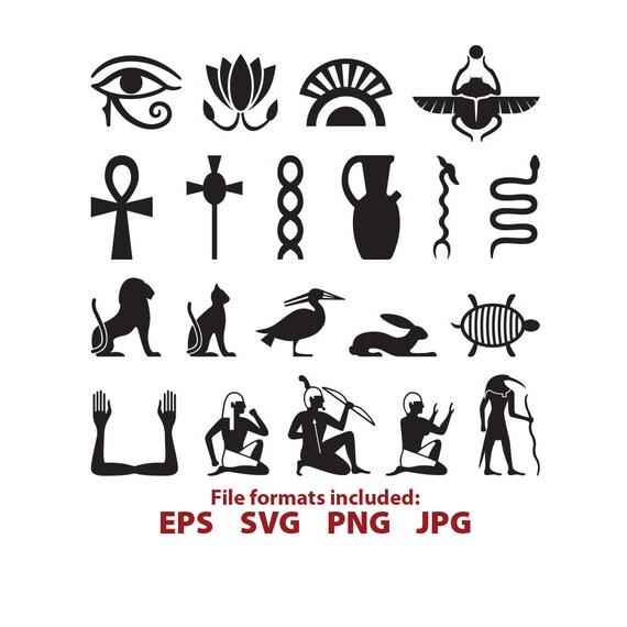 Egyptian Symbols Egypt Hieroglyph Ankh Snake Bird Glyph Etsy