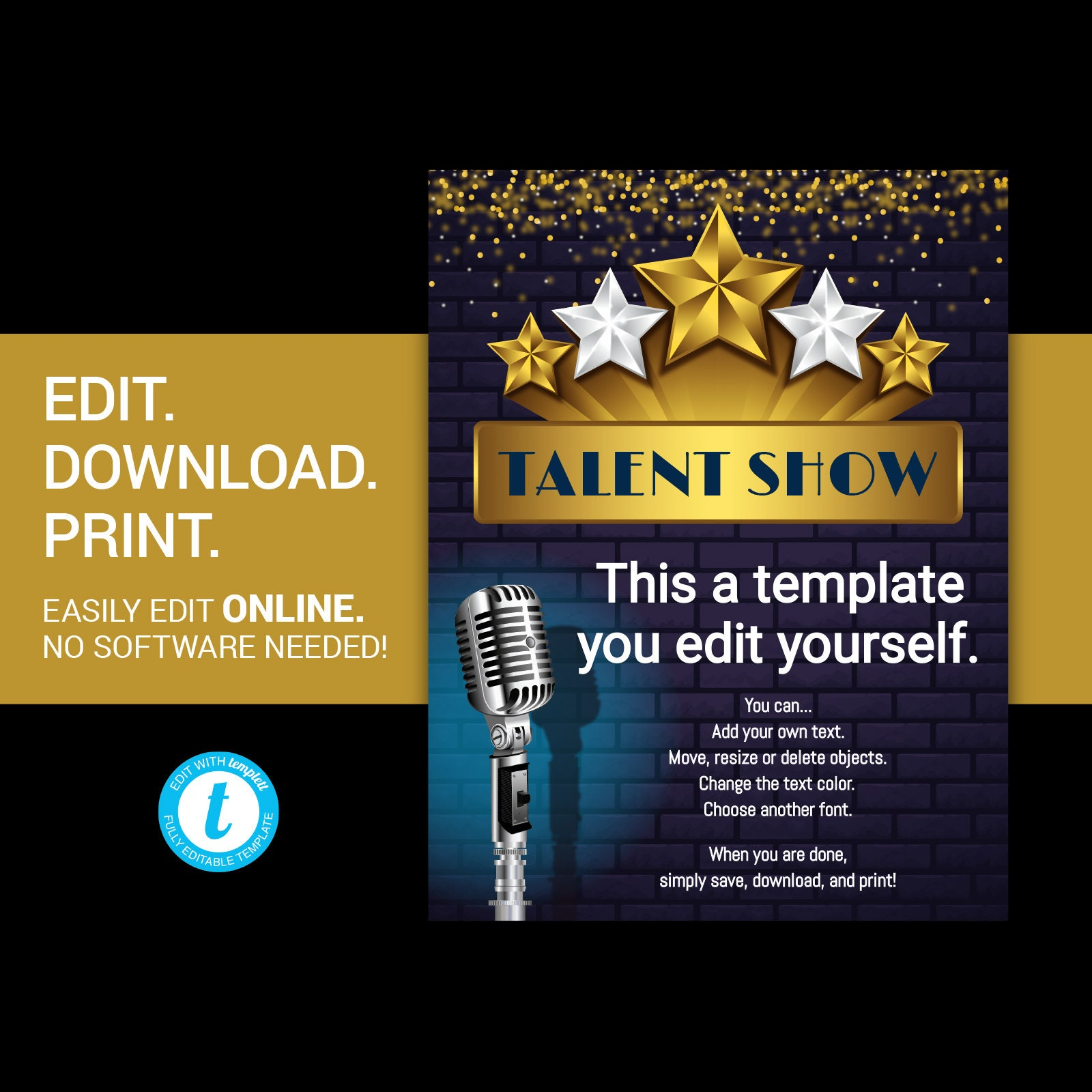 Editable Talent Show Flyer Comedy Show Flyer Open Mic Flyer Etsy