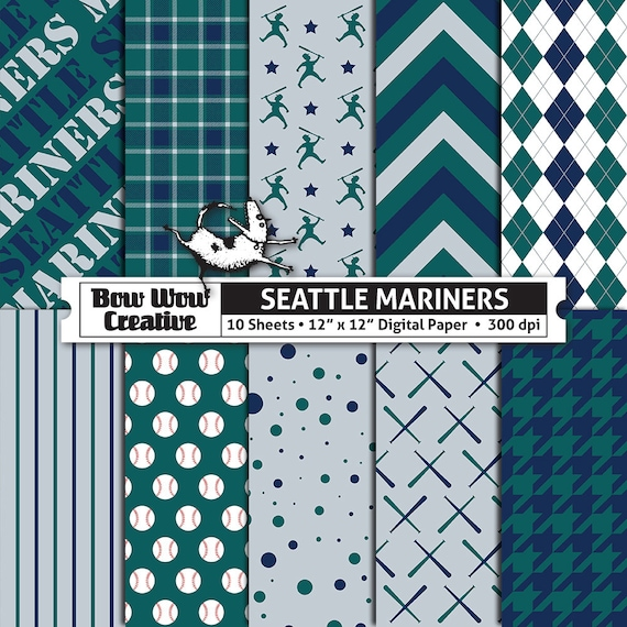 10 Seattle Mariners Digital Papers For Scrapbooking Digital Etsy