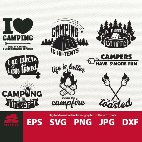 Camping Bucket svg Bundle Camper Tent