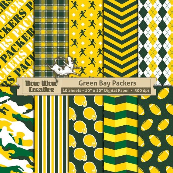 10 Green Bay Packers Digital Scrapbook Paper Scrapbooking Etsy