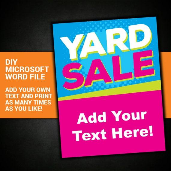 yard sale garage sale tag sale sign community sale etsy