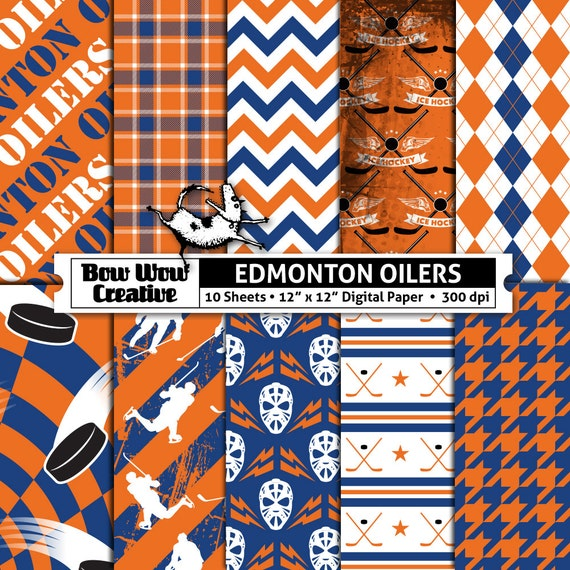 10 Edmonton Oilers Digital Papers For Scrapbooking Hockey Etsy