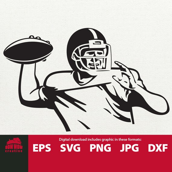Vintage Football Player svg football player clipart quarterback clipart  throwing football illustration vector clip art SVG cutting file