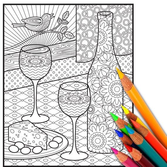 VINO adulto para colorear página hoja de adultos para | Etsy