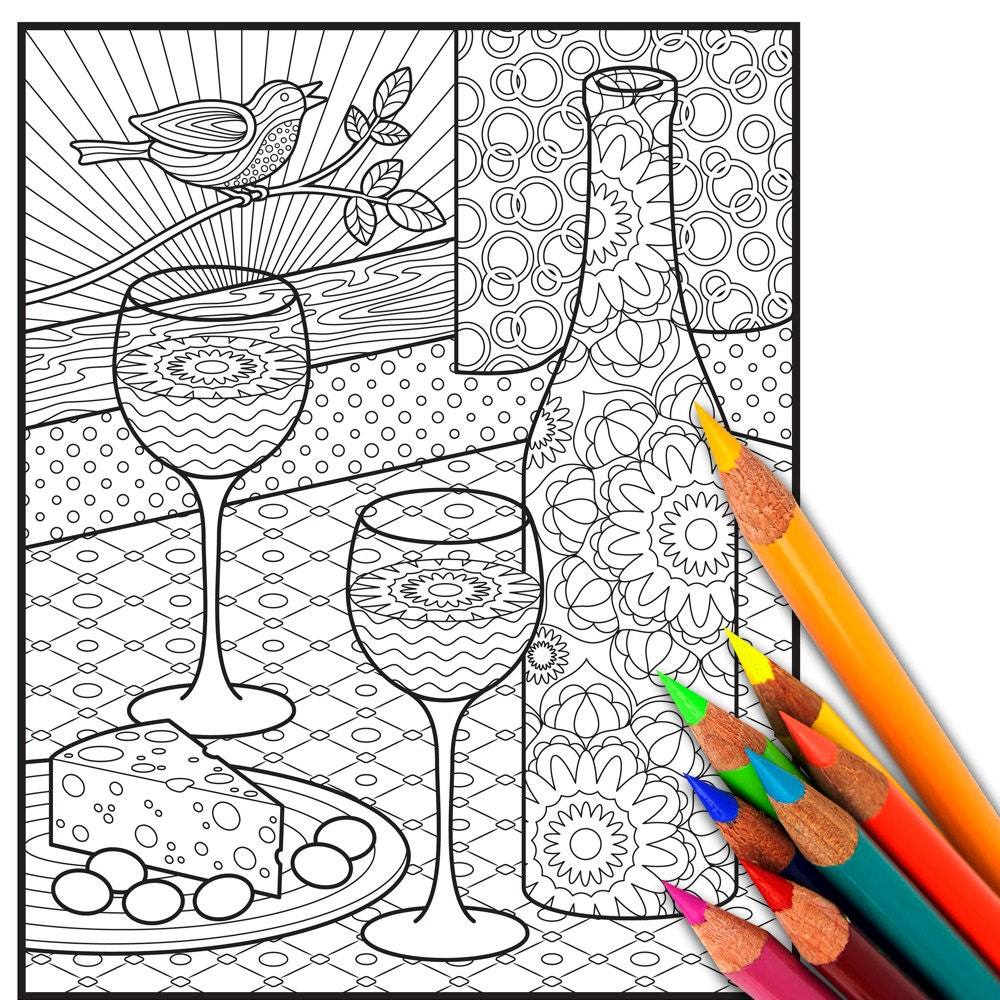 WINE Adult Coloring Page Adult Coloring Sheet Coloring | Etsy