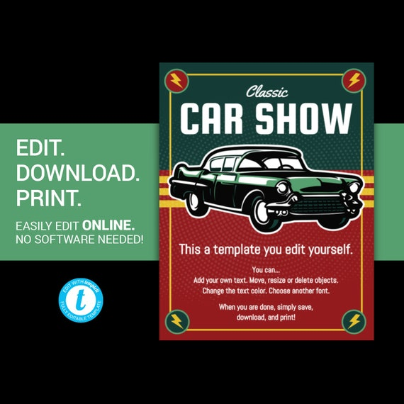EDITABLE Car Show Flyer Classic Car Show Flyer Vintage Car Etsy - Classic car show poster template