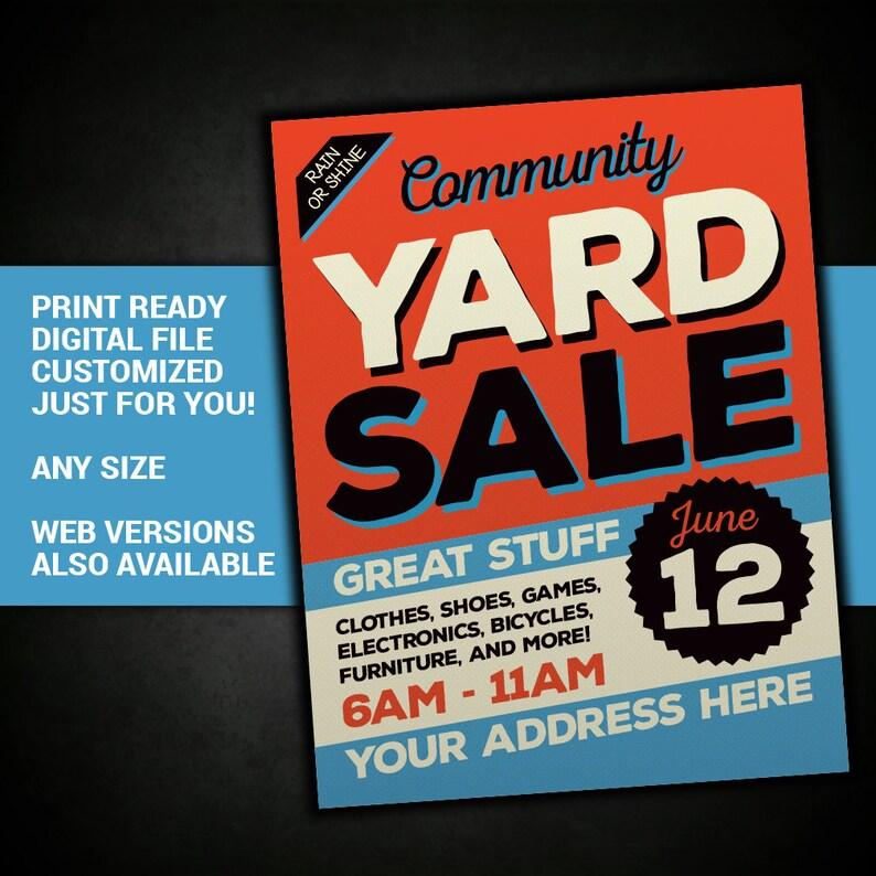 Yard Sale Sign, Garage Sale Sign, Tag Sale, sign, community, sale, church,  rummage, invite, invitation, flyer, printable, poster, postcard