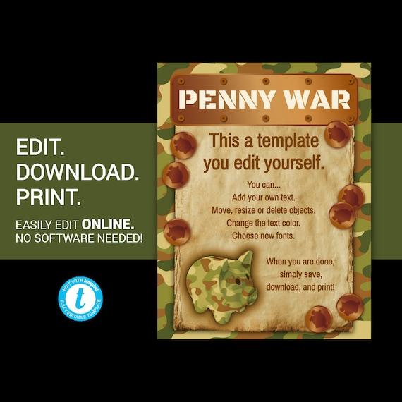 editable penny war flyer penny war flyer penny war. Black Bedroom Furniture Sets. Home Design Ideas
