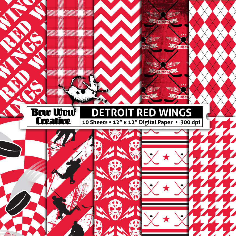 10 Detroit Red Wings Digital Papers for Scrapbooking Hockey | Etsy