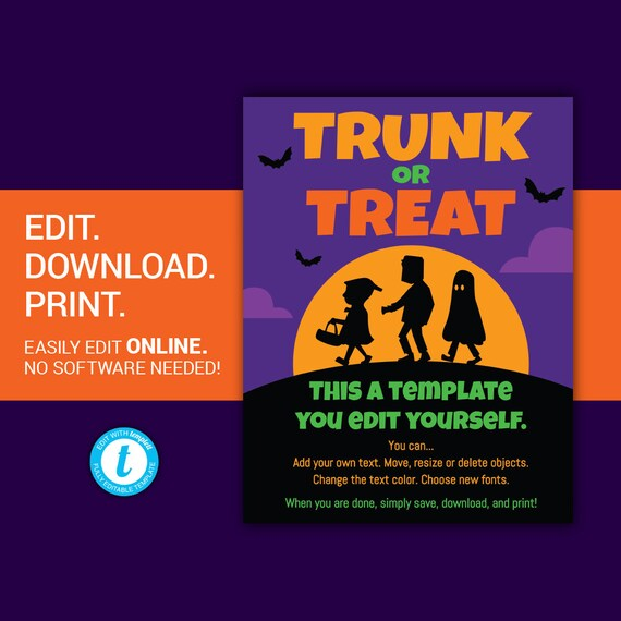 Halloween Flyer Template | Editable Trunk Or Treat Flyer Trunk Or Treat Halloween Flyer Halloween Flyer Poster Template Trick Or Treat Halloween Party Poster Templett
