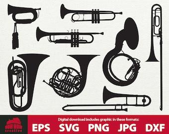 Brass Instrument svg bundle trumpet sousaphone trombone bugle tuba french horn digital vector clip art SVG Cutting File homecoming mums