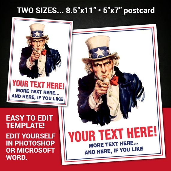 editable uncle sam poster uncle sam flyer uncle sam i want you etsy