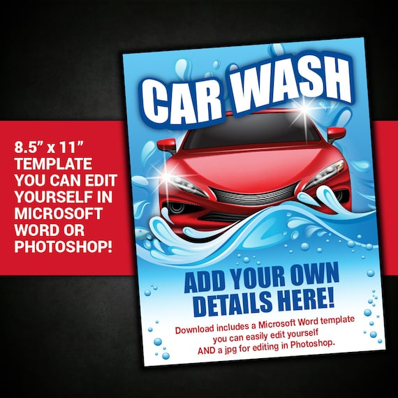 Editable Car Wash Flyer Car Wash Flyer Car Wash Poster Car