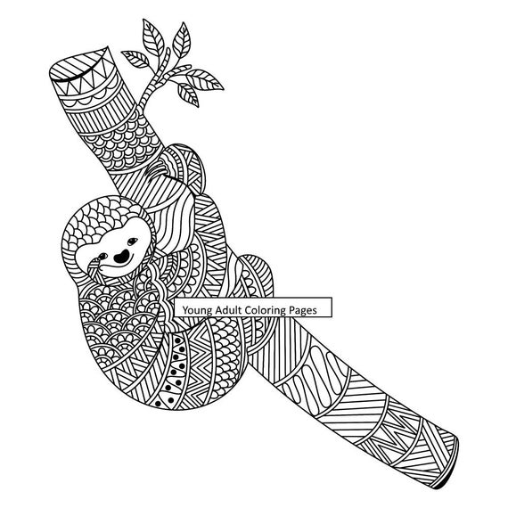 Printable Adult Coloring Page Animal Sloth Coloring 12 Etsy
