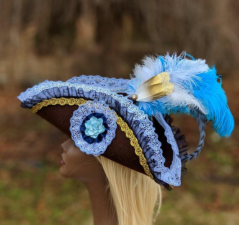 Light Blue Pirate Tricorn Hat MEDIUM brown Corset top  woman\u2019s fancy pirate cosplay fascinator jack sparrow Halloween Burlesque