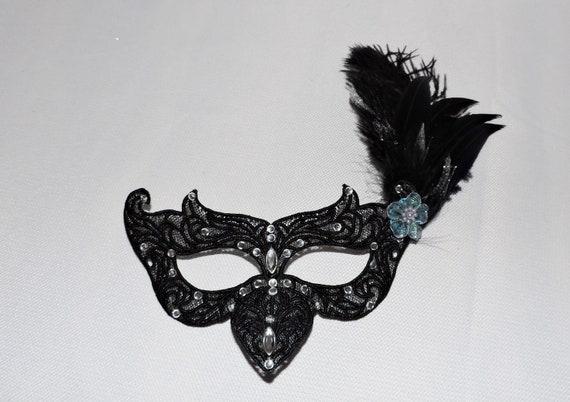 Masquerade Ball Black Raven Mask Free Standing Lace Steampunk Crow Bird Mardi Gras FSL boudoir mask