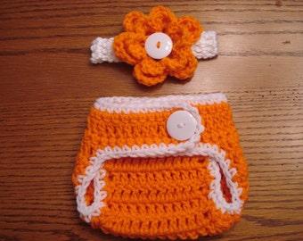 Newborn Diaper Cover and Headband Set