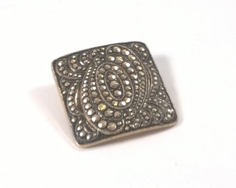 Vintage Clip On Marcasite Look Scarf Ring  - Pinless Circle Copper Tone Brooch Slide - Costume Jewelry Brooch 1970s - West Germany