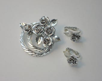 Vintage Coro Silver Tone Rose Brooch and Earrings - Flower Roses Bouquet Pin Jewelry Set 1960s