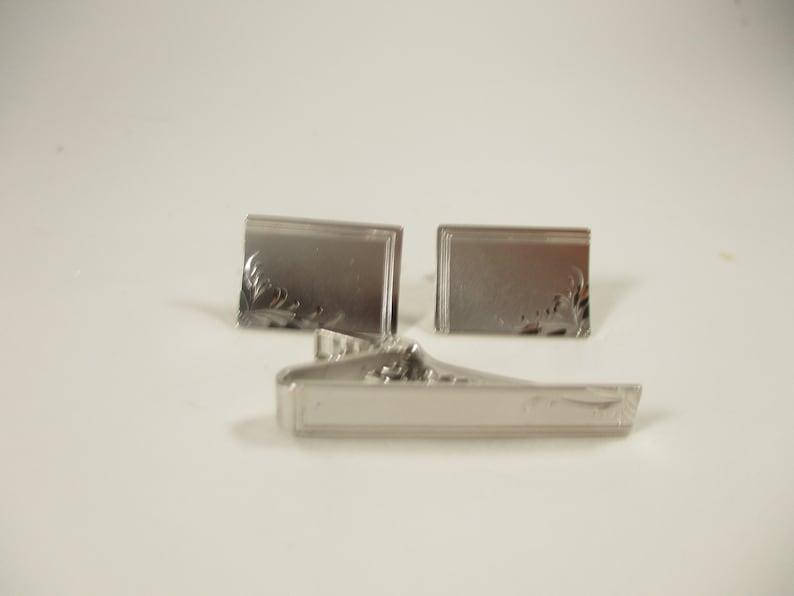 Tie Bar and Cufflinks Vintage Nippie Clip Formal Mens Accessories 1950s Silver Tone