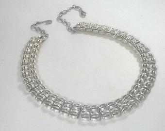 Vintage Coro Necklace - Silver Choker Costume Jewellery - Bridal Jewelry 1950s