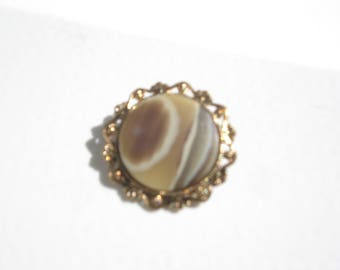 Vintage Clip On Circle Scarf Brooch -Pinless Agate Pin - Costume Jewelry Brooch 1960s - West Germany