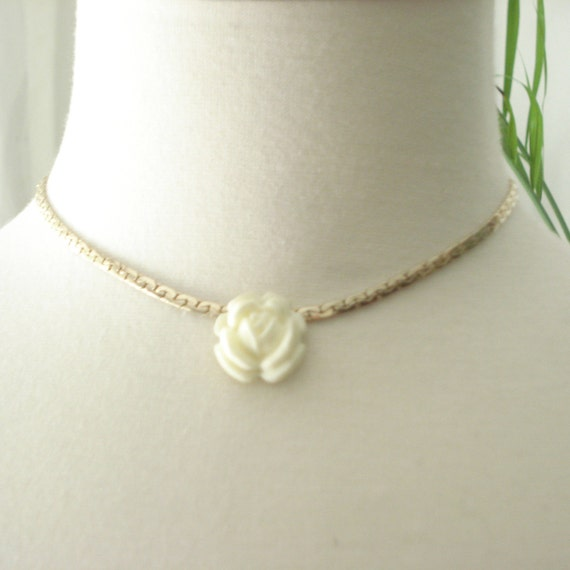 Vintage Rose Necklace Gold Tone With A Cream Carved Flower Pendant   Ml Costume Jewelry 1960s by Etsy